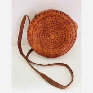 Embossed leather circle bag